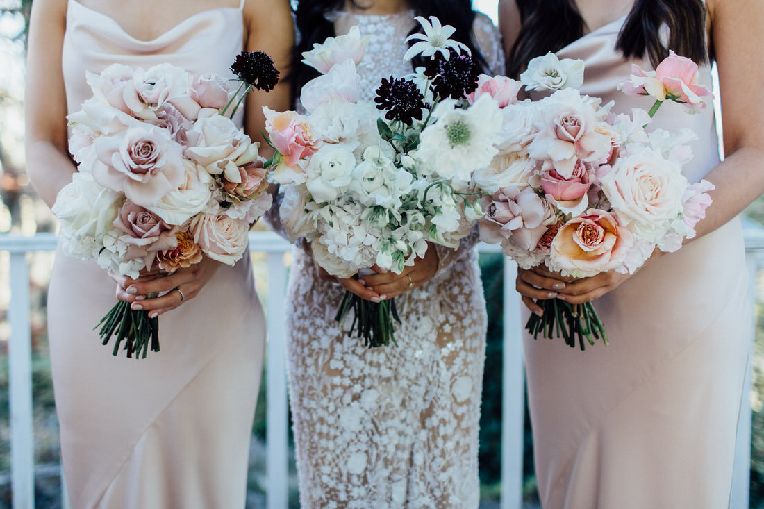 Wedding bouquets by Sophie Rothwell florist at Centennial Vineyards wedding