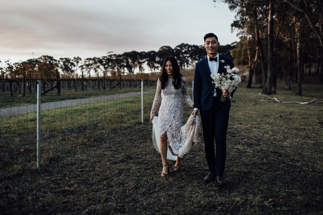 Centennial Vineyards wedding with bride and groom at sunset in bushland