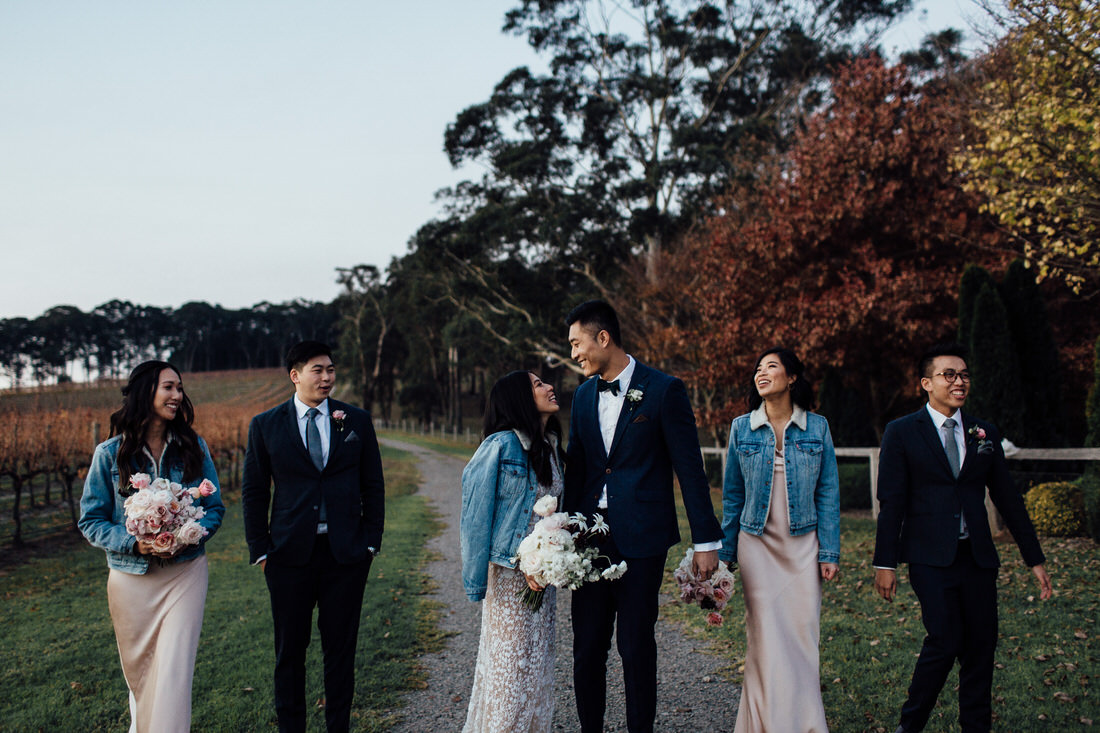 Centennial Vineyards wedding with bridal party and sunset
